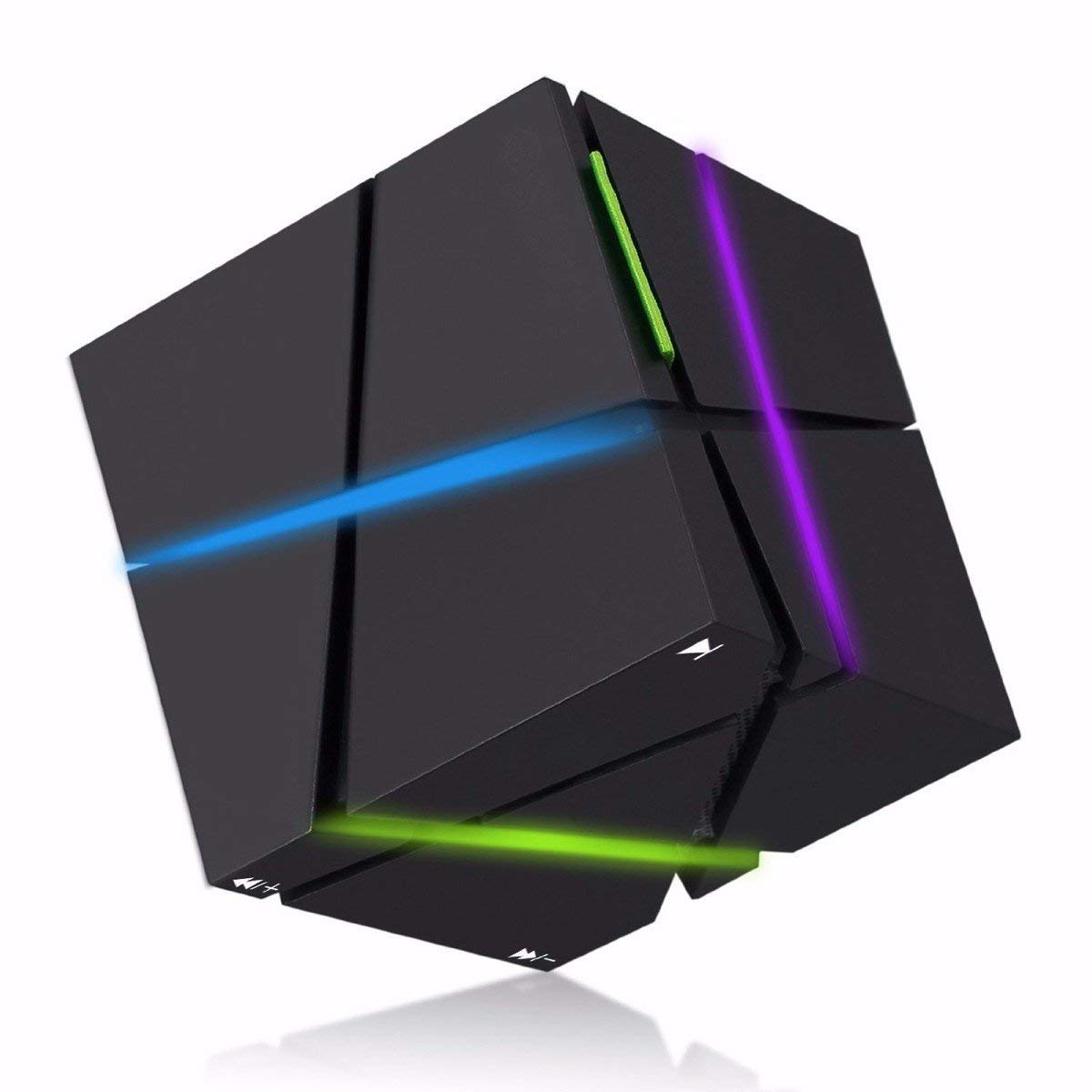 ELEGIANT Mini Altavoz Portátil Inalámbrico Bluetooth Cube LED Colorido Manos Libres con Micrófono Incorporado