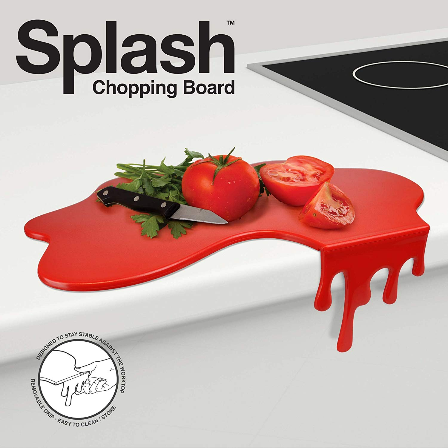 Tabla de cortar con diseño splash, color rojo