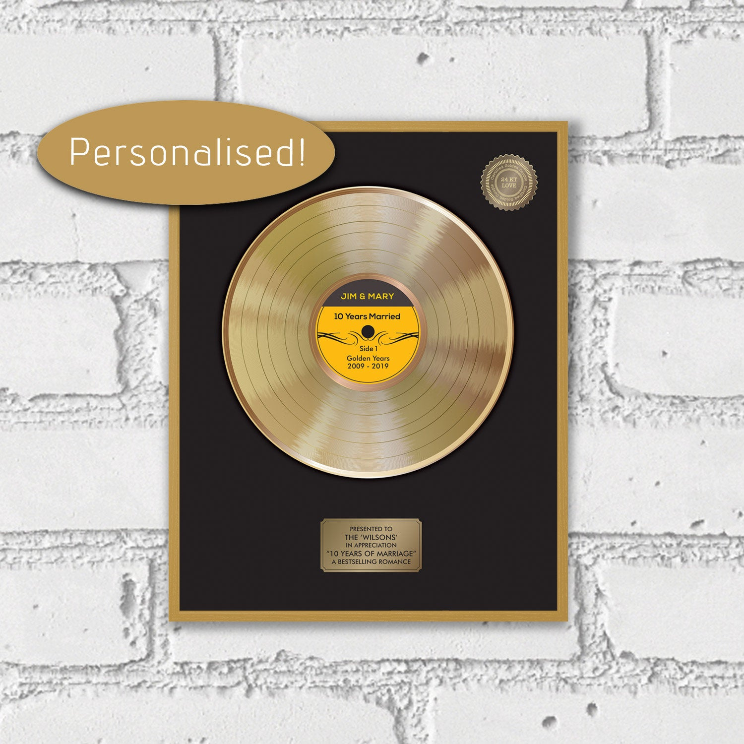 Gold disc print - Gold record - music award - personalised music wall poster
